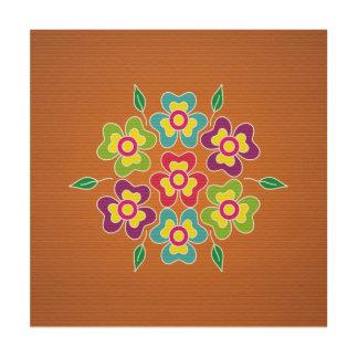 rangoli bloemen houten canvas print