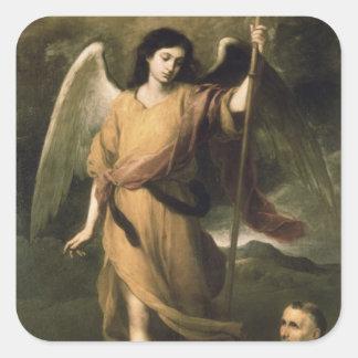 Raphael van de aartsengel met Bischop Domonte Vierkante Sticker