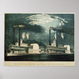 Ras van de middernacht op de Mississippi, 1875 Poster