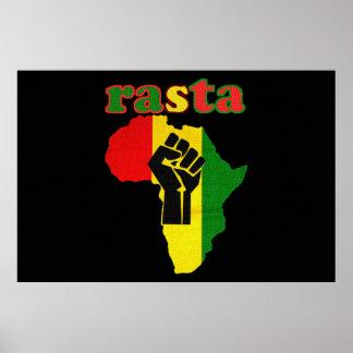 Rasta Afrika en Zwarte Druk 48 van het Canvas van  Poster