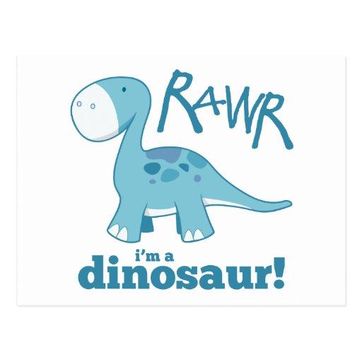 RAWR ik ben de Briefkaarten van een van de Dinosau Wenskaart