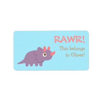 Rawr, Leuke Paarse dinosaurus Triceratops voor Etiket