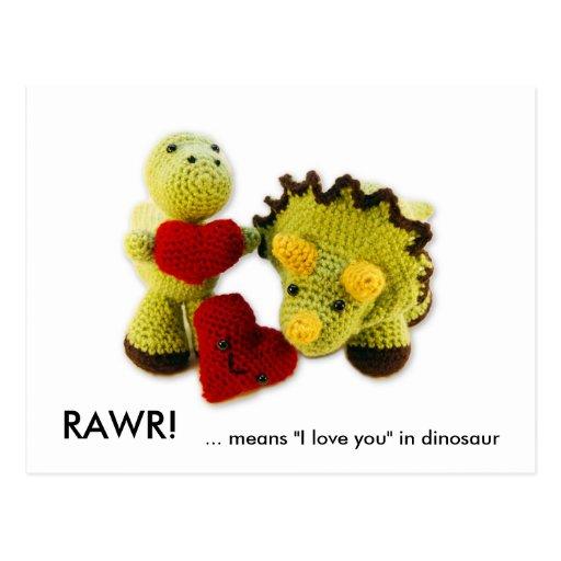 """RAWR! ,… middelen """"I liefde u"""" in dinosaurus Wenskaarten"""