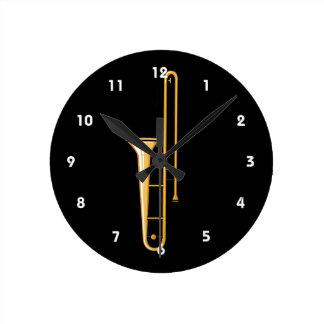 rechtop grafische trombone ronde klok