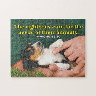 Rechtschapen Zorg voor de Behoeften van Hun Dieren Foto Puzzels