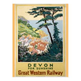 Reclame van de Reis van vintage Devon de Engelse Briefkaart