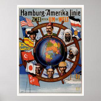 Reclame van het Schip van de Lijn van Hamburg Poster