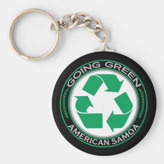 Recyclen Amerikaans-Samoa Basic Ronde Button Sleutelhanger