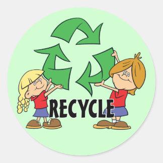 Recyclen kind ronde sticker