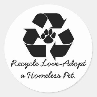 Recyclen liefde-keur stickers van een de Dakloze