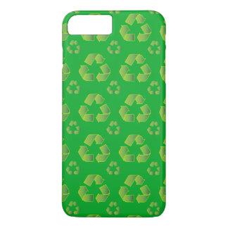 Recyclen symbool dat op groene achtergrond wordt iPhone 8/7 plus hoesje