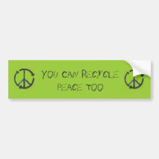 Recyclene Vrede, de Sticker van de Bumper Bumpersticker