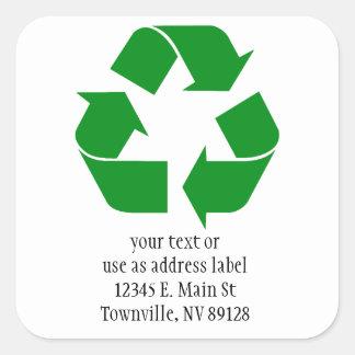 Recyclerend Groen Symbool - Vierkante Sticker