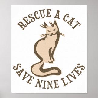 Red een Kat sparen het Negen Leven Poster