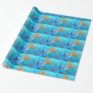 redheaded meerminnen op blauw document inpakpapier