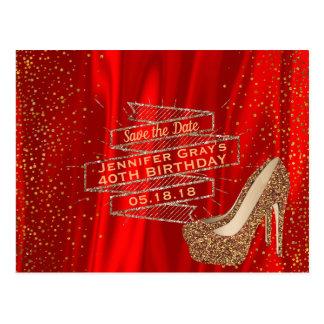 Redt het Gouden Rood van Glam de Datum de Elegante Briefkaart