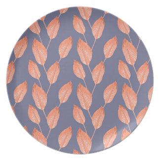 Reeks 2 van het Patroon van de Bladeren van de pop Melamine+bord