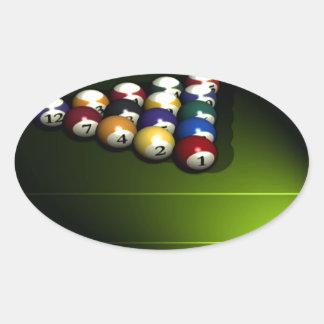 Reeks poolballen ovale sticker