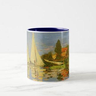 Regatta in Argenteuil door Claude Monet Tweekleurige Koffiemok