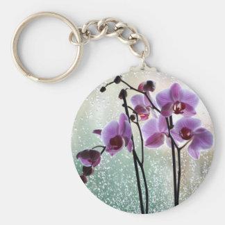 regen en orchideeën keychain sleutelhanger