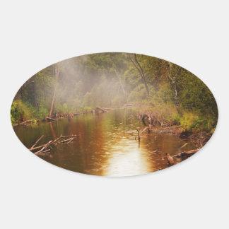 Regen in het Bos Ovale Sticker