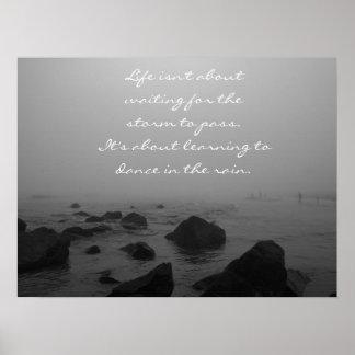 Regenachtige Dag bij het Strand Poster