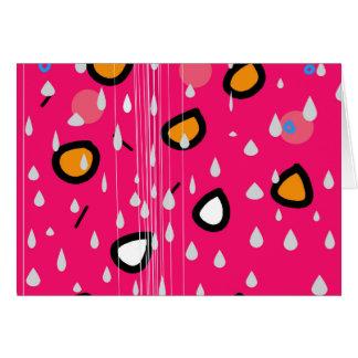 Regenachtige dag - roze wenskaart
