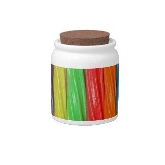 Regenboog gekleurd zoethoutsnoep porseleinen snoeppot