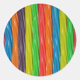 Regenboog gekleurd zoethoutsnoep ronde sticker