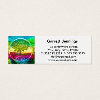Regenboog Gekleurde Boom van het Leven Mini Visitekaartjes