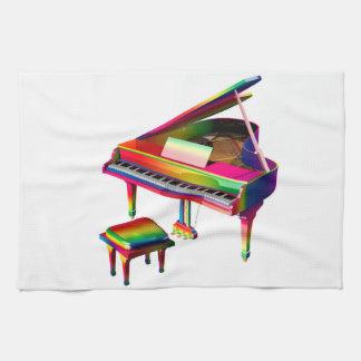 Regenboog Gekleurde Piano Theedoek