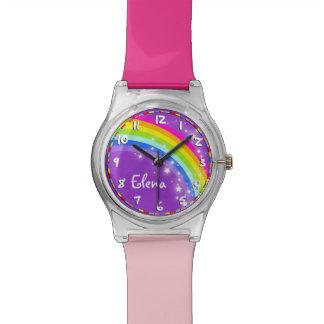 Regenboog genoemd paars roze multi-coloured horloge
