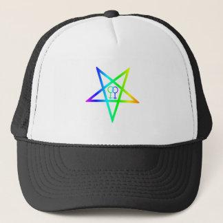 Regenboog Homoseksuele Vrouw Omgekeerde Pentagram Trucker Pet