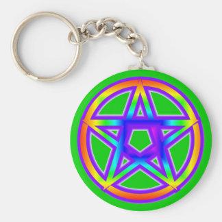 Regenboog Pentagram Keychain Sleutelhanger