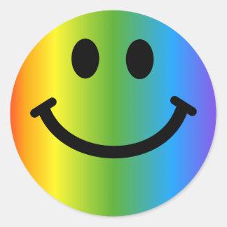 Regenboog Smiley Ronde Sticker