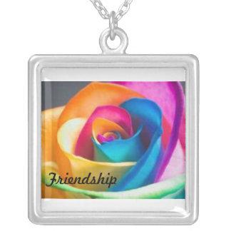 Regenboog van de vriendschap nam toe ketting vierkant hangertje