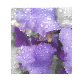 regendruppels op iris notitieblok