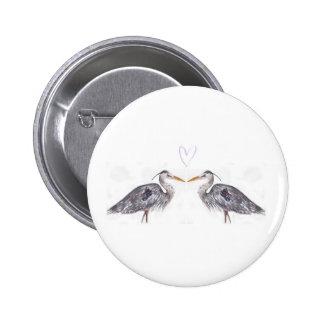 Reiger met hart watercolour ontwerp ronde button 5,7 cm