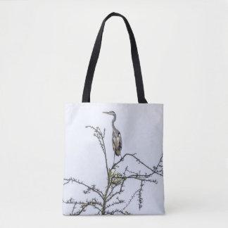 Reiger op een boom druk-alle-over bolsazak draagtas
