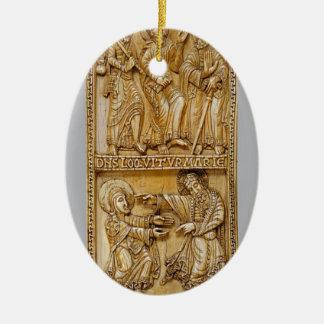 Reis aan Emmaus en Noli me Tangere Keramisch Ovaal Ornament