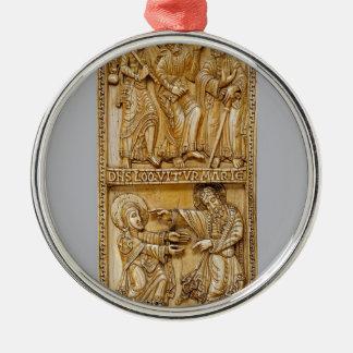 Reis aan Emmaus en Noli me Tangere Zilverkleurig Rond Ornament