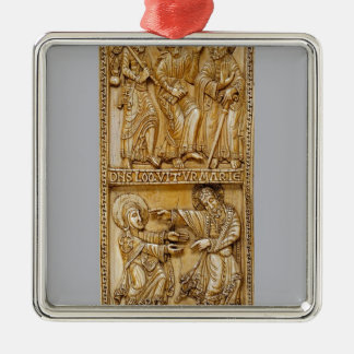 Reis aan Emmaus en Noli me Tangere Zilverkleurig Vierkant Ornament