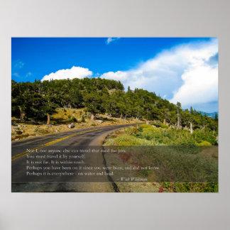 Reis die het Citaat van Whitman van de Weg Poster