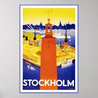 Reis Stockholm van het Afbeelding van de druk Poster