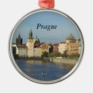 Reis van de Gift van Praag de Tsjechische om Zilverkleurig Rond Ornament