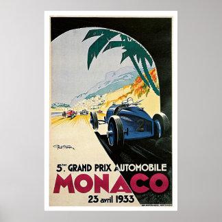 Reis van de Grand Prix van Monaco de Auto Vintage Poster