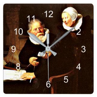 Rembrandt: Scheepsbouwer en zijn Vrouw, 1633 Vierkante Klok