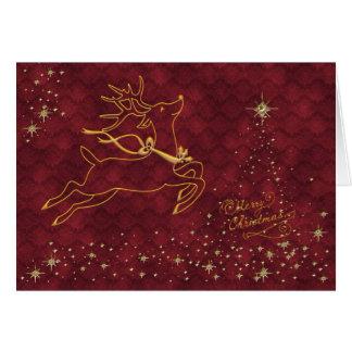 Rendier die over Sterrige Kerstboom vliegen Kaart