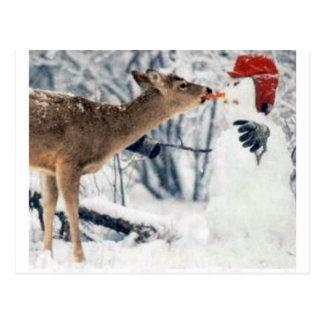 Rendier die Sneeuwman eten Briefkaart