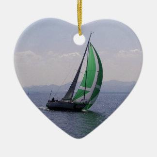 Rennend jacht keramisch hart ornament